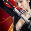 Anime stylized sexy brunette with holding a katana sword with tw — Stock Photo