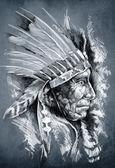 Boceto del arte del tatuaje, cabeza de indio nativo americano, jefe, sucio — Foto de Stock
