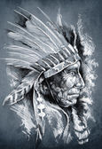 Sketch of tattoo art, native american indian head, chief, dirty — 图库照片