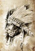 草绘的纹身艺术,美洲原住民的印第安头,长官,vintag — 图库照片