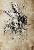 Sketch of tattoo art, fairy, fantasy illustration, textured back — Stock Photo