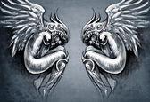 Boceto del arte del tatuaje, dos Ángeles, concepto de fantasía — Foto de Stock