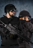 Two soldiers, swat and police concept — Stock Photo