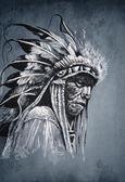 本机的美洲印第安人头、 首席、 复古风格 — 图库照片
