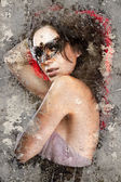 Artistic portrait with background texture, sensual brunette with — Stock Photo