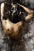 Artistic portrait of a nude man with gas mask with textured back — Stock Photo