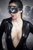 Aviator girl with black leather jacket — Stock Photo