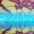 Abstract colorful graffiti reflection in the water  — Stock Photo