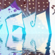 Abstract colorful graffiti reflection in the water, artistic let — Stock Photo