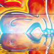 Graffiti wall texture reflection in water, artistic urban pictu — Stock Photo