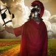 Portrait of a legionary soldier with horses - Stock Photo