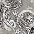Tattoo art illustration, japanese dragons - Stock Photo
