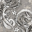 Stock Photo: Tattoo art illustration, japanese dragons
