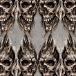 Tattoo art illustration, skulls wall - Stock Photo