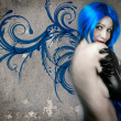 Stock Photo: Vogue style portrait of beautiful delicate woman with blue hair