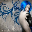 Vogue style portrait of beautiful delicate woman with blue hair — Stock Photo