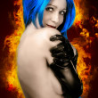 Vogue style portrait of beautiful delicate woman with blue hair  — ストック写真