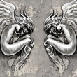 Sketch of tattoo art, two angels, fantasy concept over wall - Photo