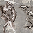 Stock Photo: Tattoo art illustration, dragons over grey wall