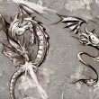 Tattoo art illustration, dragons over grey wall - Stock Photo