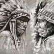 Stockfoto: Native americindihead, chief, retro style