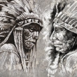Photo: Native americindihead, chief, retro style