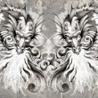 Two Dragons, tattoo illustration over grey wall - Stock Photo