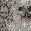Tattoo art,2 biomechanical demons over grey background, Sketch - 图库照片