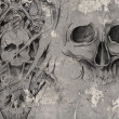 Tattoo art,2 biomechanical demons over grey background, Sketch - Stok fotoğraf