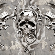 Tattoo art, 3 skulls over grey background, Sketch  — Stock Photo