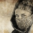Sketch made with digital tablet of arabic woman, desert - Stockfoto