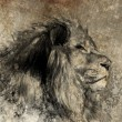 Illustration made with digital tablet, lion in sepia - Stock Photo