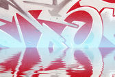 Graffiti reflection in the water, red artistic symbols — Stock Photo