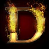 D, fire letter illustration — Stock Photo