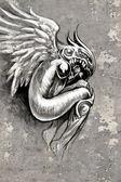 Tattoo art illustration, angel with violin — Stock Photo