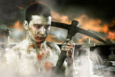 Male zombie in a cemetery, undertaker with pick axe, retro — Stock Photo
