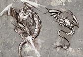 Tattoo art illustration, dragons over grey wall — Stock Photo