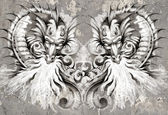 Two Dragons, tattoo illustration over grey wall — Stock Photo