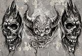 Sanat, 3 şeytanların gri arka plan üzerinde dövme, eskiz — Stok fotoğraf