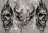 Tattoo art, 3 demons over grey background, Sketch — Stock Photo