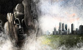 Environment illustration, man with gas mask over dirty city — Stock Photo