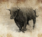 Sketch made with digital tablet, bull running — Stock Photo