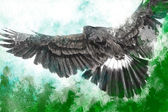 Low-flying eagle illustration over artistic background — Stock Photo