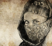Sketch made with digital tablet of arabic woman, desert — Stock Photo