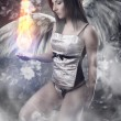 Angel with white wings woman holding a fireball over vintage bac - Stock Photo