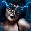 Artistic mysterious brunette woman in lingerie, blue smoke comin — Stock Photo