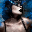 Artistic beautiful woman with short hair and Venetian mask, gas  — Stock Photo