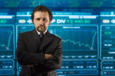 Businessman in the stockmarket — Stock Photo