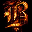 B, illustration of  word with chrome effects and red fire on bla — Stock Photo