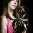 图库照片: Boxing woman, pretty young boxing and defending by hands black